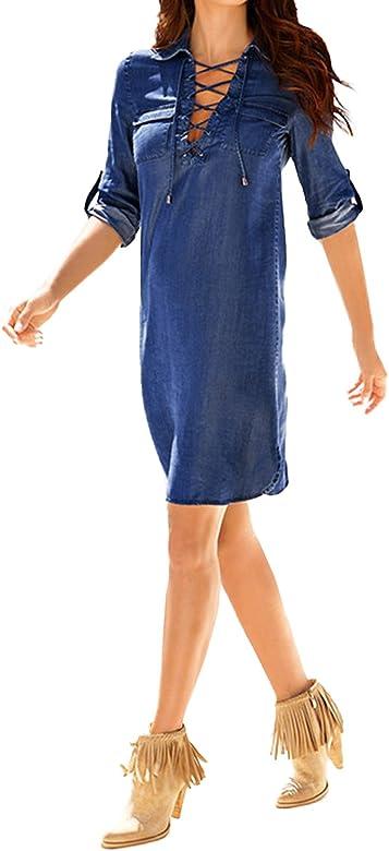 StyleDome Mujer Vestido Vaquero Corto Elegante Algodón Camisa ...