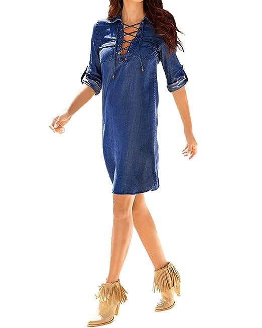 StyleDome Mujer Vestido Vaquero Corto Elegante Algodón Camisa Larga Mangas Largas Cuello Pico Fiesta Azul EU