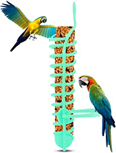Bird Treat Holder, Plastic Pet Parrots Feeder Basket Parrots Food Fruit Vegetable Holder with Perch Bird Foraging Toy for Conures Parakeets Cockatoos and Other Birds