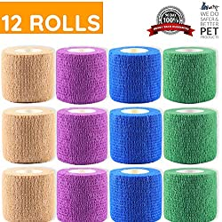 WePet Original Vet Wrap Self Adhesive Gauze, Cohesive Bandage for Animals, Adherent Wrap for Prairie Horse Dogs Cats & Animal use Supply for Vetwrap Tape First Aid Adhering Stick Bandage, Self Grip
