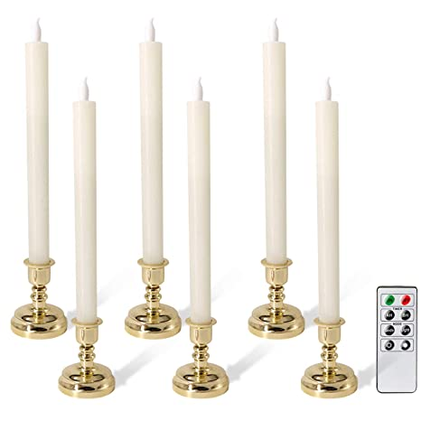 Eldnacele Set of 6 Flameless Flickering Candles LED Window Taper Candles  with Candle Holders with Timer and Remote Control for Home and Wedding