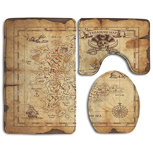 Guiping Super Detailed Treasure Map Grungy Rustic Pirates Gold Secret Sea History Bathroom Rug Mats Set 3 Piece,Funny Bathroom Rugs Graphic Bathroom Sets,Anti-skid Toilet Mat -
