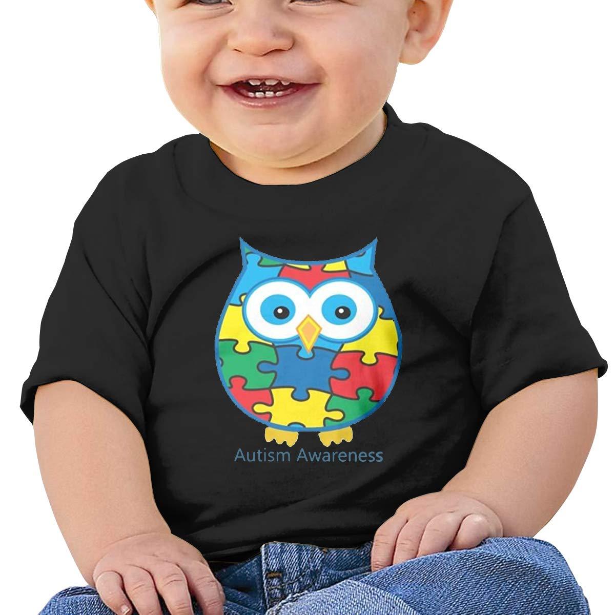 BuecoutesAutism Awareness Owl Art Toddler//Infant Short Sleeve Cotton T Shirts Black 47