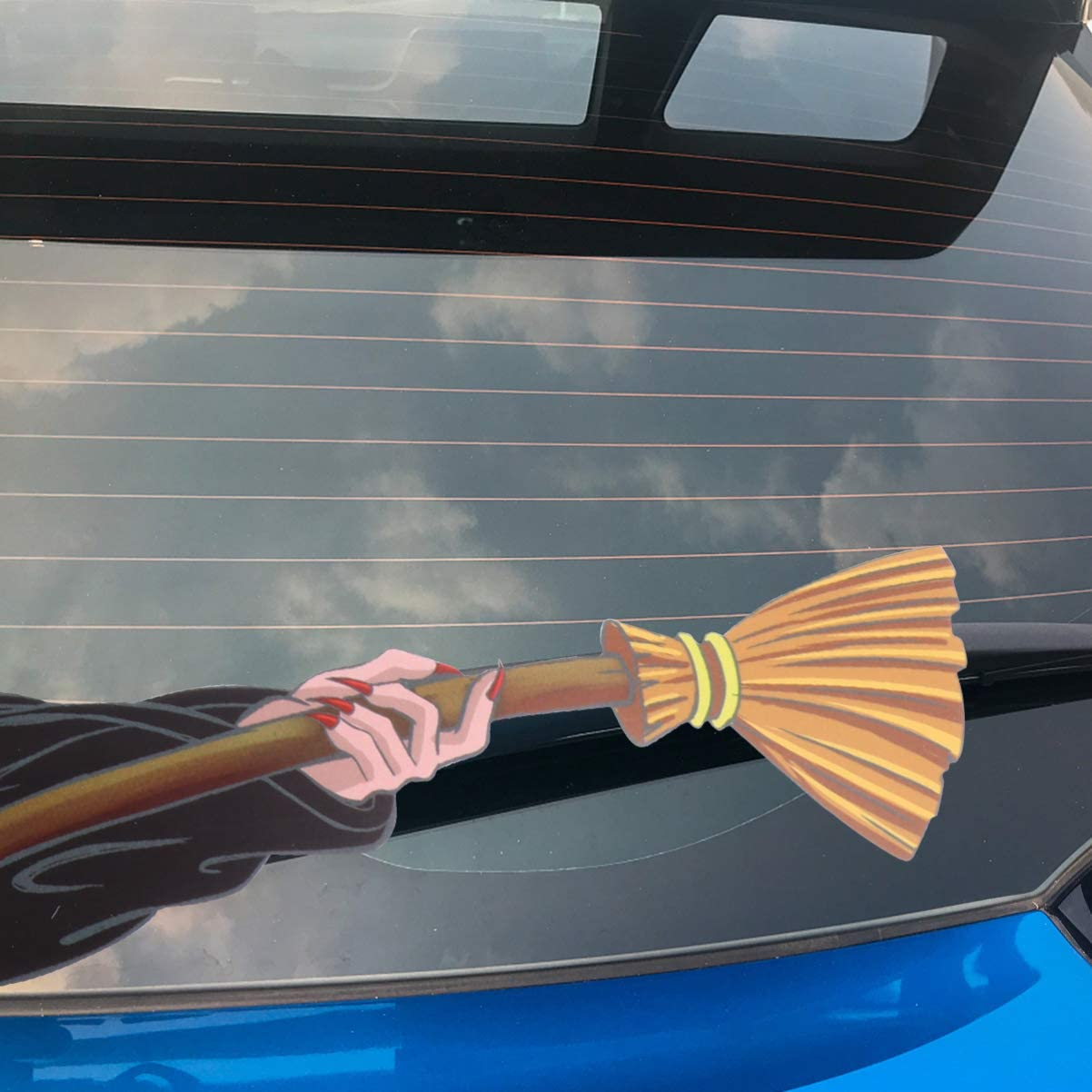 VOSAREA Rear Window Wiper Decal Halloween Horror Witch Waving Wiper Arms 3d Funny Cartoon Festive for Car Bumper Windshield Wiper Decal for Rear Wipers Decor