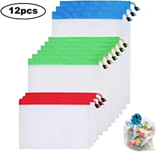 Candygirl 12Pcs Reusable Mesh Produce Bags Washable Eco Friendly for Grocery Shopping and Storage Fruit Vegetable and Toys Set
