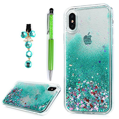 iPhone Xs Case (2018), YOKIRIN Quicksand Hybrid Case TPU Soft Frame & PC Plastic Back 3D Star Glitters Flowing Liquid Floating Bling Skin Protective Cover for iPhone X Case (2017), Green