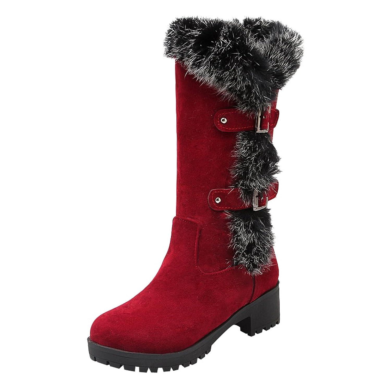 Latasa Women's Faux Nubuck Monk Strap Mid Calf Winter Boots
