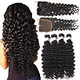 Brazilian Deep Wave Virgin Hair 4 Bundles with Middle Part Closure (24 26 28 30 with 20) 100% Unprocessed Brazilian Deep Curly Remy Human Hair Weaves and Lace Closure Deep Wave Bundles with Closure