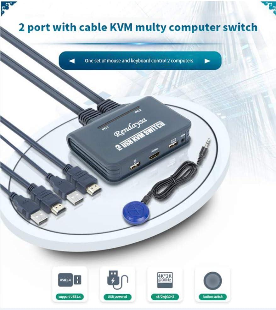USB KVM Due in Uno One out Switch Esterno Pulsante Risoluzione 1920 2K @ 30HZ Rendaysa Switch KVM Line Switch Integrato 2 Porte Switch HDMI 4K 1080 @ 60HZ