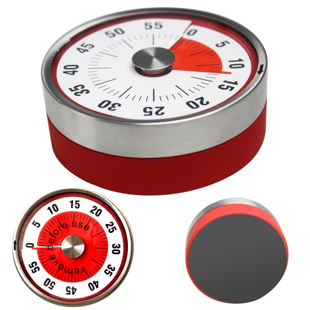 Timer for Kitchen Cooking, Mechanical Magnetic Dial Analog Timers with Magnet Loud Sound Ring, Visual 60 Minute Countdown Manual Rotate Wind Up Timer Alarm for Kids Teachers Classroom Running Yoga
