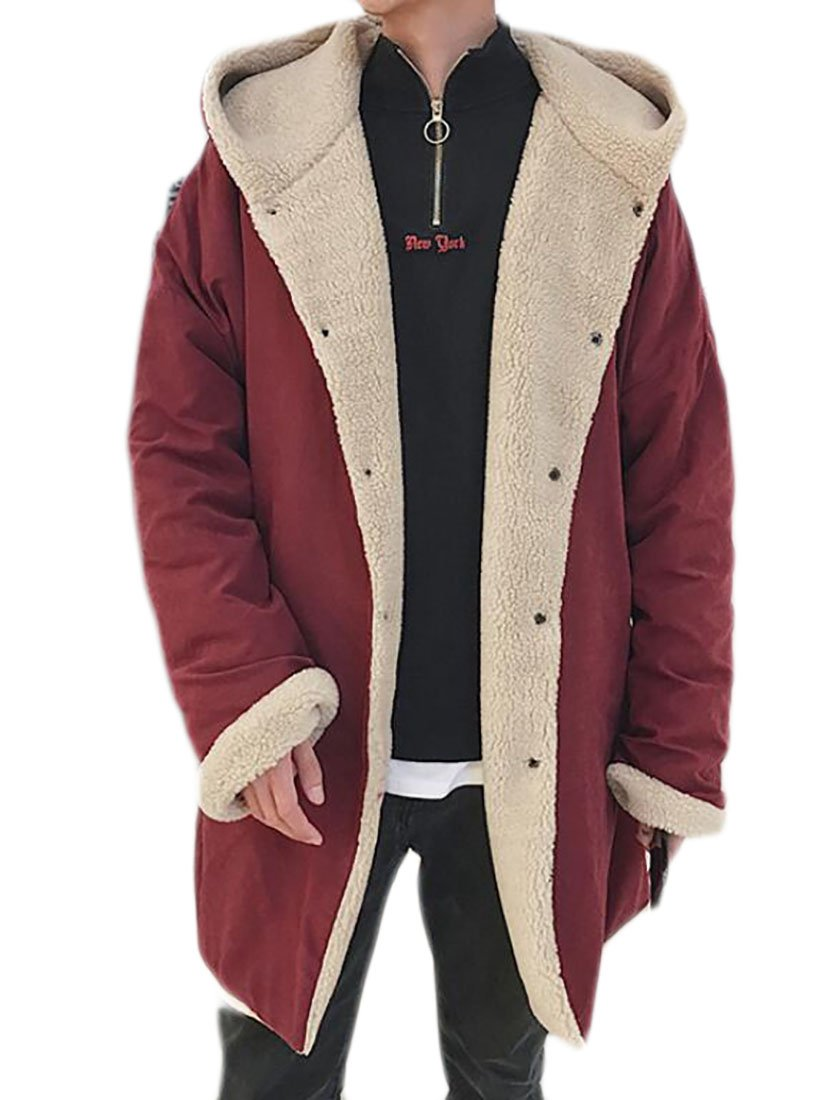YUNY Mens Thicken Sherpa Lined Hooded Long Trench Coat Down Coat Outwear Red L