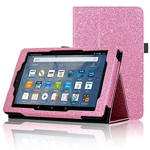 ACdream All-New Fire HD 8 Tablet (7th Generation, 2017 Release Only) Case, Premium PU Folio Leather Tablet Case for Fire HD 8 tablet with Auto Wake Sleep Feature, (Star of - Tablet 8 Pink Glitter Case