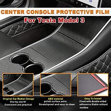 Center Control Panel Wrap Kit for Tesla Model 3 Model Y CIIHON Tesla Model 3 Model Y Center Console Wrap Cover ABS Plastic Carbon Fiber Center Console Trim Decoration Cover