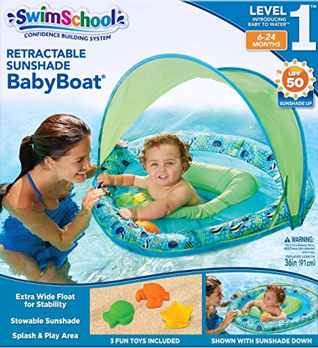 SwimSchool Toys and Joys Fabric Baby Pool Float, Baby Boat with Three Toys, Extra-Wide Inflatable Pool Float, Retractable Canopy, UPF 50, 6 to 24 Months, Blue