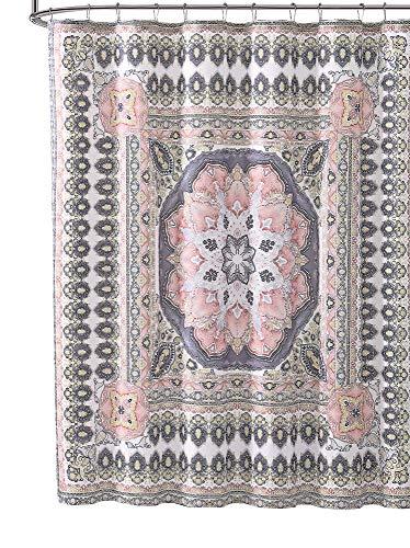 Coral Grey Yellow White Fabric Shower Curtain: Floral Geometric Mandala Design