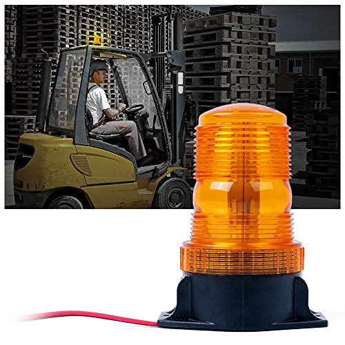 Xprite 30 LED Amber/Yellow 15W Emergency Warning Flashing Safety Strobe Beacon Light for Forklift Truck Tractor Golf Carts UTV Car -