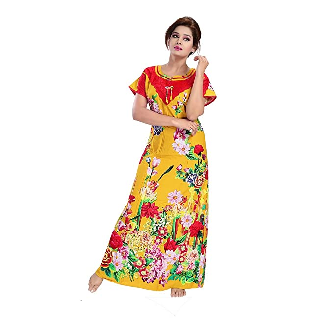 O Pagli Women s Reyon Fancy Nighty (Yellow)  Amazon.in  Clothing    Accessories e8d557b67