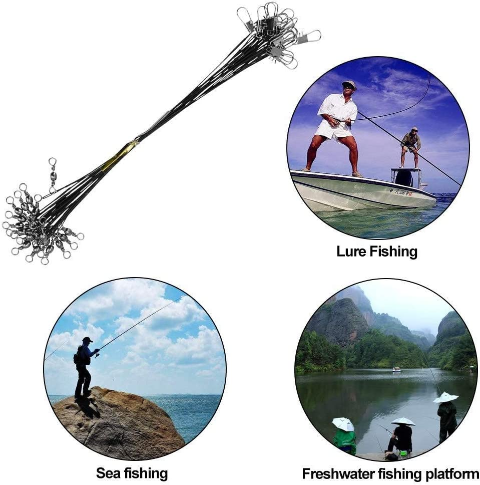 72pcs Fishing Wire Trace Leaders Lure Wire Trace Stainless Steel Trace Leaders with Snap for Pike Hidden Main Line Prevent Fish Bite Line 15cm 20cm 25cm black