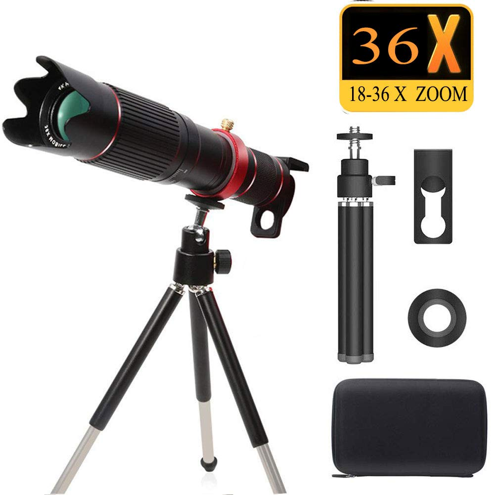 Peedeu Telescope and Cell Phone Lens,36X Zoom Telephoto Lens, 4K HD Phone Camera Lens for iPhone Samsung Smartphone Bundle