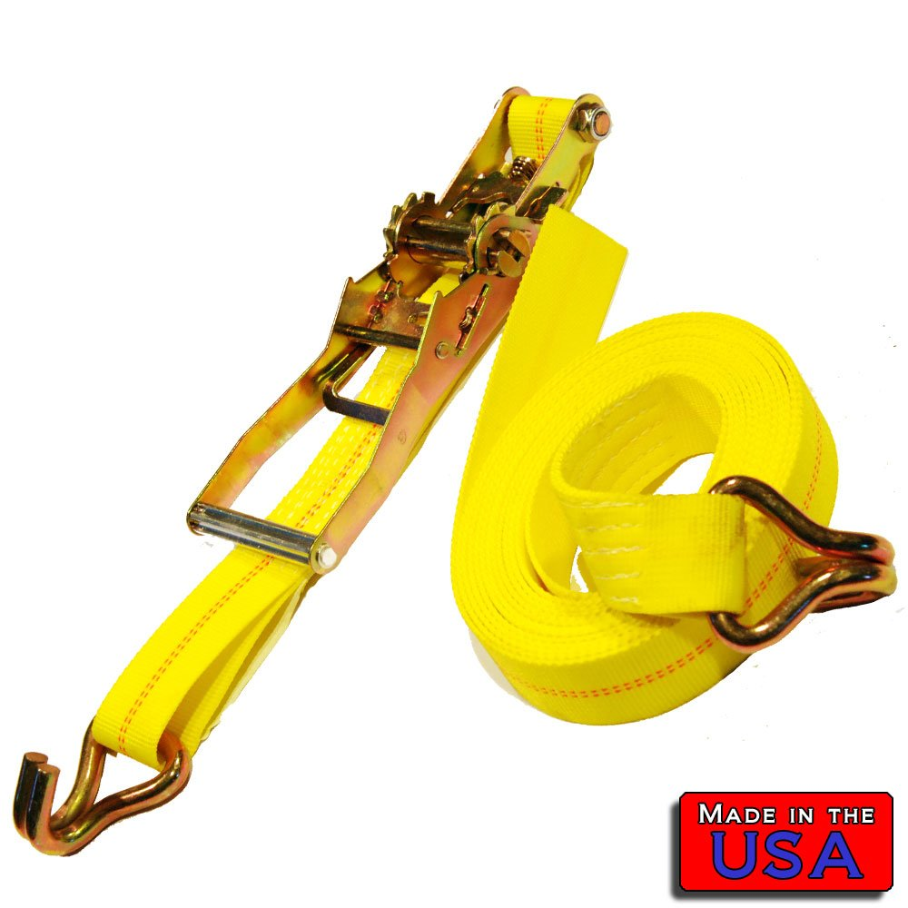 SecureMyCargo 2'' Ratchet Strap J-hook/J-hook 20' 3336# WLL Yellow