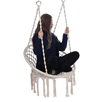 m·kvfa Hammock Chair Macrame Swing Handmade Swing Chair Comfortable Sturdy Hanging Chairs for Indoor Living Room Reading Outdoor Home Patio Yard Garden: Kitchen & Dining