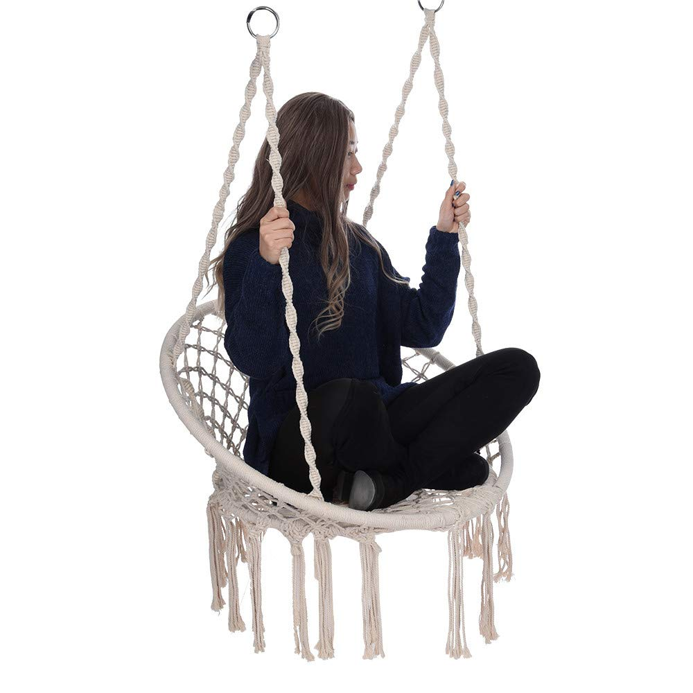AMOUSTORE Hammock Chair, Hanging Tassel Rope Chair Macrame Swing Kits Comfortable Sturdy Hanging Swing Chairs for Indoor Outdoor Shop