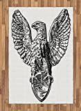 Vintage Area Rug by Ambesonne, Italian Rome Heraldry Eagle Statue Pattern European Empire Heritage Culture Print, Flat Woven Accent Rug for Living Room Bedroom Dining Room, 4 x 6 FT, Black White