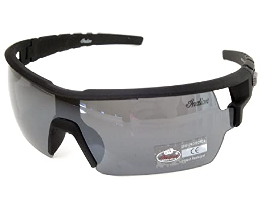 6ceedd65d439 Image Unavailable. Image not available for. Color: Indian Sunglasses Men's  Women Wraparound Smoke Mirror Lenses Black Plastic UV400