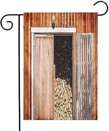 QIAOQIAOLO Bandera de jardín Colorida, decoración rústica, Puerta corredera Envejecida con Textura rústica, auténtica, Vintage, arquitectónica, Rural, impresión Decorativa, añadir Belleza marrón: Amazon.es: Jardín