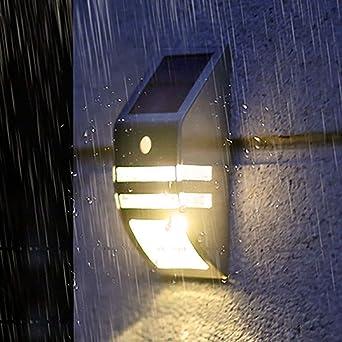 Luz Solar Jardín ámparas Solares Exterior con Sensor de Movimiento y Sensor fotosensible Luces LED de Seguridad al Aire Libre para Terraza Garaje Escaleras: Amazon.es: Iluminación