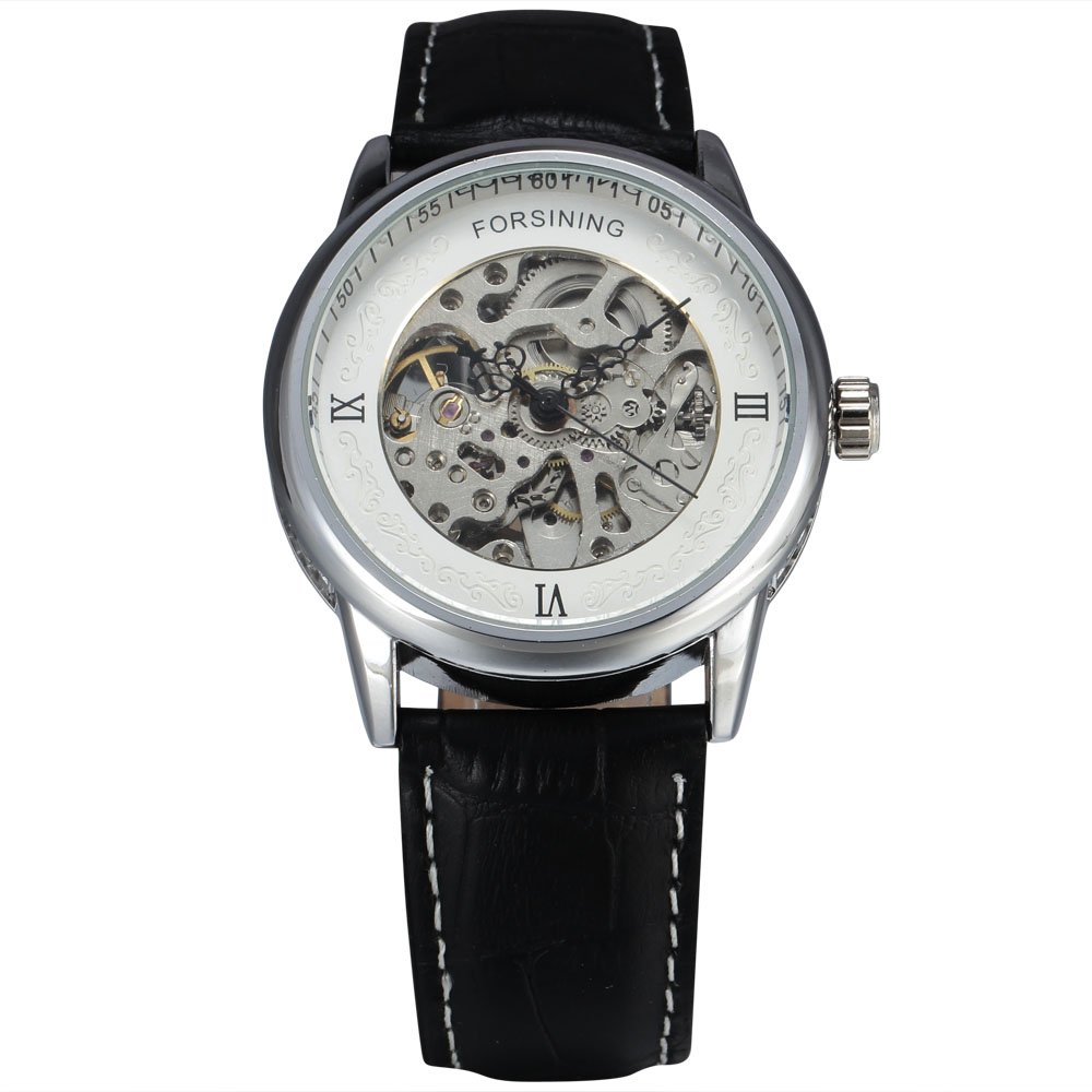 FORSINING Luxury Brand Men Skeleton Automatic Mechanical Military Watches Genuine Leather Wristwatch