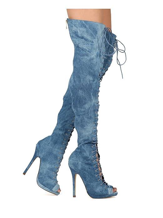 Amazon.com: Liliana FC01 Mujer Vaquera alta del muslo Peep ...