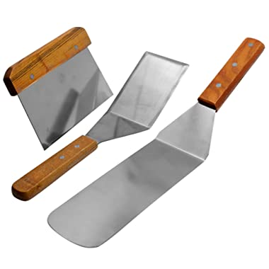 BonBon 3-Piece Professional Quality Stainless Steel Flat-Top Spatula and Scraper Set - Perfect Hanburger Turner, Pancake Flipper, 3-Piece Kitchen Set (2 Spatulas, and 1 Scraper) (Wooden Handle)