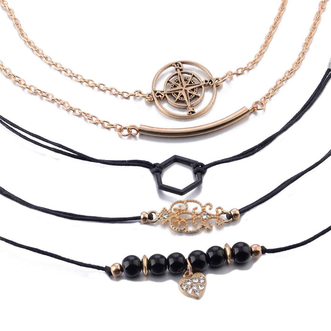 Kissherely 5 St/ück Frauen Armband Set Gold Compass Totem Anh/änger Armband Schwarz Hexagon Perlen Armband