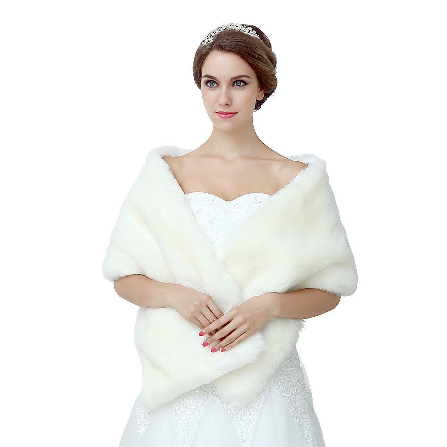 1940s Style Wedding Dresses and Accessories Diyouth Ivory Shawl Wrap Faux Fur Scarf Stoles for Wedding Dresses $17.99 AT vintagedancer.com