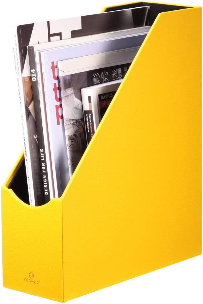 Vlando VPACK Magazine File Organizer Holder - Office PU Leather Desk Organizer Collection, Assorted Color (Canary Yellow)