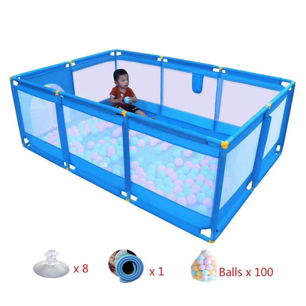 ベビーサークル 大型ベビープレイペンメッシュマット&ボール付き10パネル子供用セキュリティフェンスキッズセーフティプレーャード、66cmトール(ブルー)   B07LDR1JZH