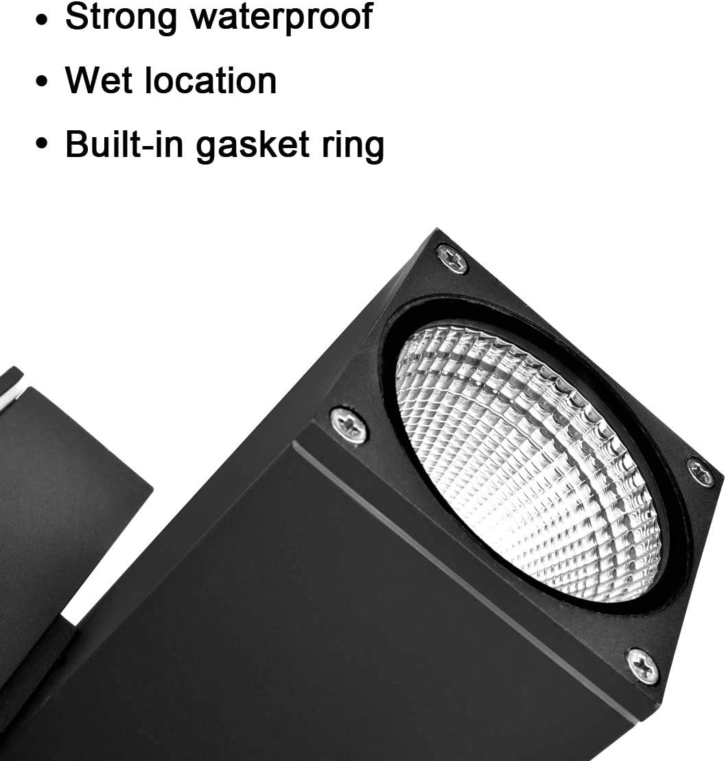 Entry Garage IESTARING Led Wall Mount Lamp Fixture Garden Square 16W IP65 Waterproof Super Bright LED Square Up Down Wall Light for Decoration on Door Way Corridor