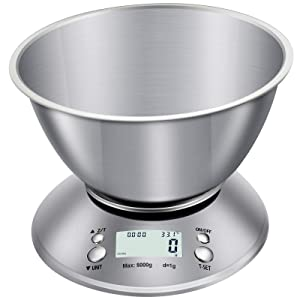 AQwzh Food Scale with Bowl, Digital Kitchen Weight for Cooking, Baking and Dieting,11lb/5kg, LCD Display, 5kg, silver