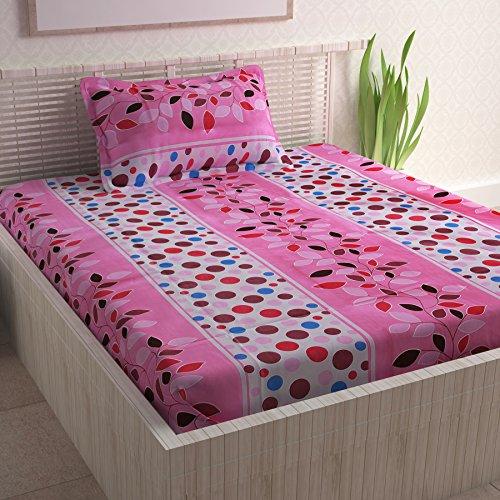 Divine Casa Pink Cotton Pigment 100% Cotton Single bedsheet with 1 pillow Cover Floral