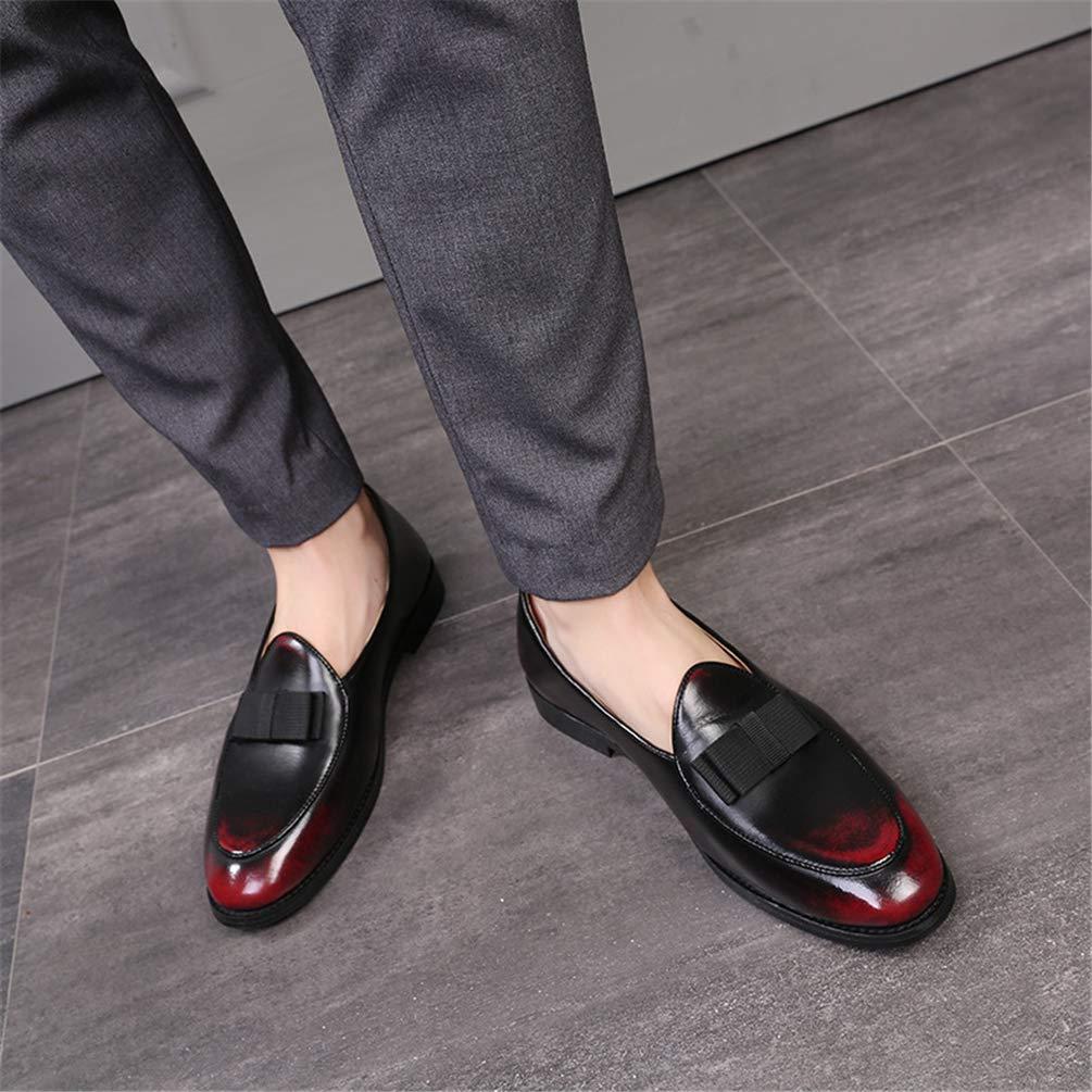 Chaussure de Cuir sans Lacet de Motif Papillon Basse Souple Homme Mocassin Chaussure de Ville Plate Casual