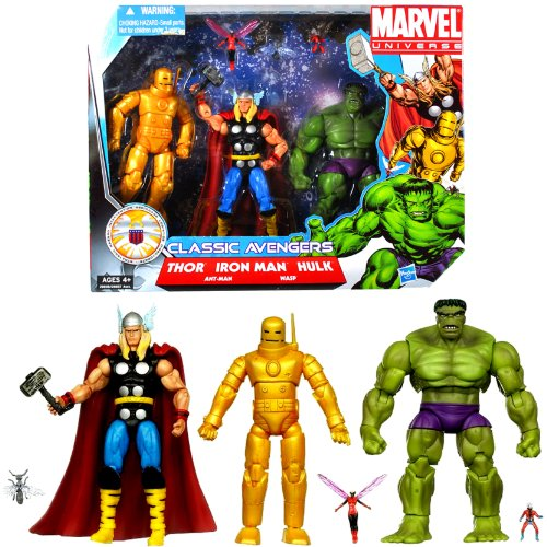 Hasbro Year 2010 Marvel Universe Series 3 SHIELD 3 Pack 4-1/2 Inch Tall Action Figure Set - CLASSIC AVENGERS with Iron Man, Thor and Green Hulk Plus 2 Mini Figures (Marvel Universe Green)