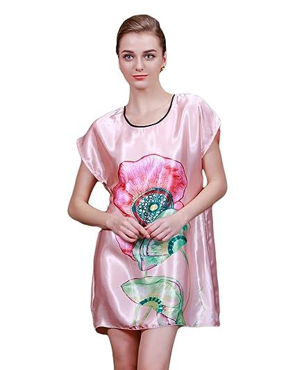 CHENGYANG Mujer Ropa Interior Seda Camisón Bata de Noche Dormir Pijama con Patrón de Lotus Rojo Caucho: Amazon.es: Ropa y accesorios