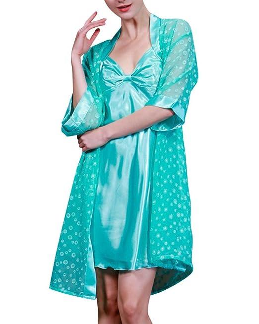 DianShao Mujer Corto Manga Pijama Sleepwear Satín Conjuntos Vestido Camisón De Dos Piezas Fruta Verde