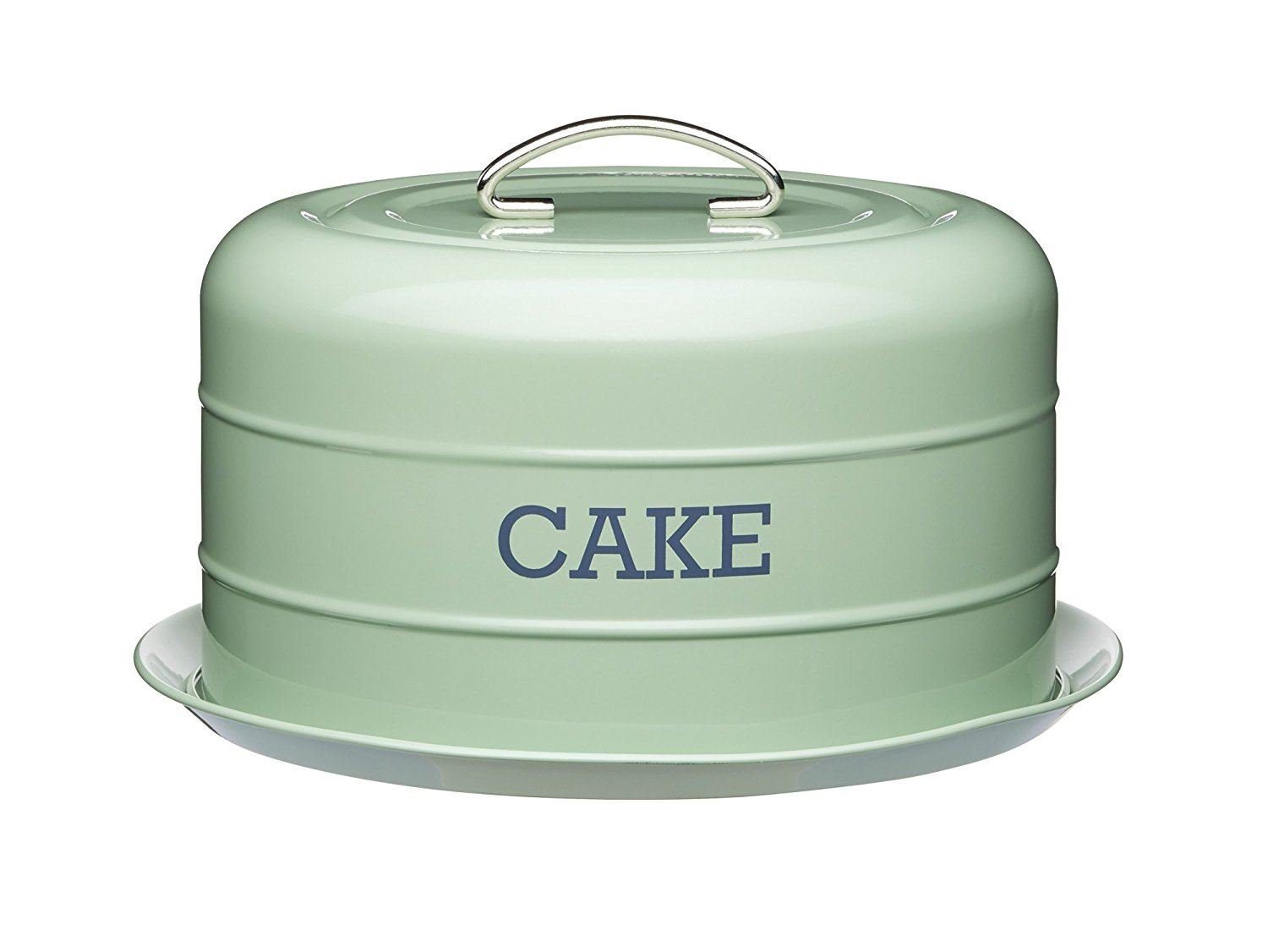 Kitchen Craft Living Nostalgia Vintage Style Airtight Cake Storage Tin Cake Dome English Sage Green - 28.5cm x 18cm 11'' x 7''