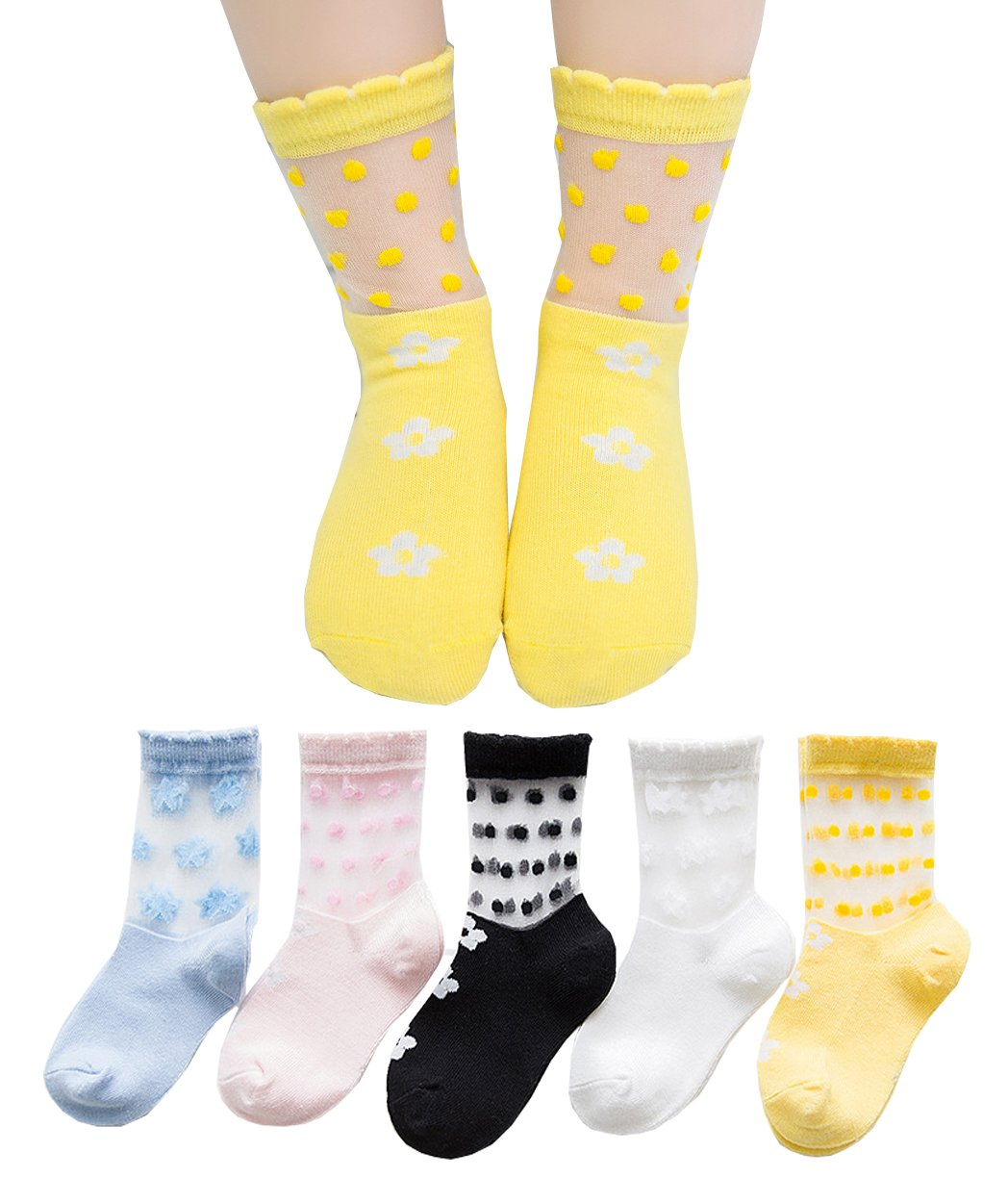 Girls' Fashion Cute Novelty Cotton Lace Transparent Thin Socks (Pack of 5) (XL, Flower)