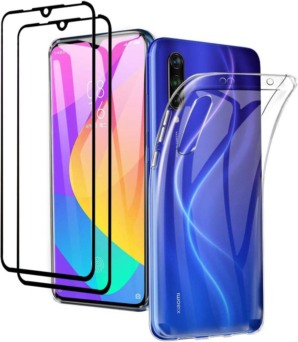 YiKaDa - Funda para Xiaomi Mi 9 Lite + [2 Pack] Protectores de Pantalla in Cristal Templado, Carcasa Transparente Suave Gel TPU Silicona Funda Ultra Fino Anti-Rasguño para Xiaomi Mi 9 Lite