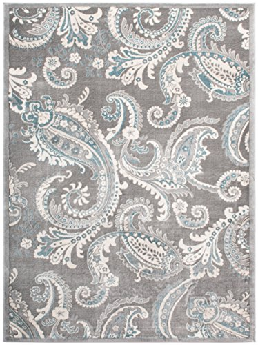 Mayberry Rugs INT7416 Paisley Gray Transitional Area, 7'10