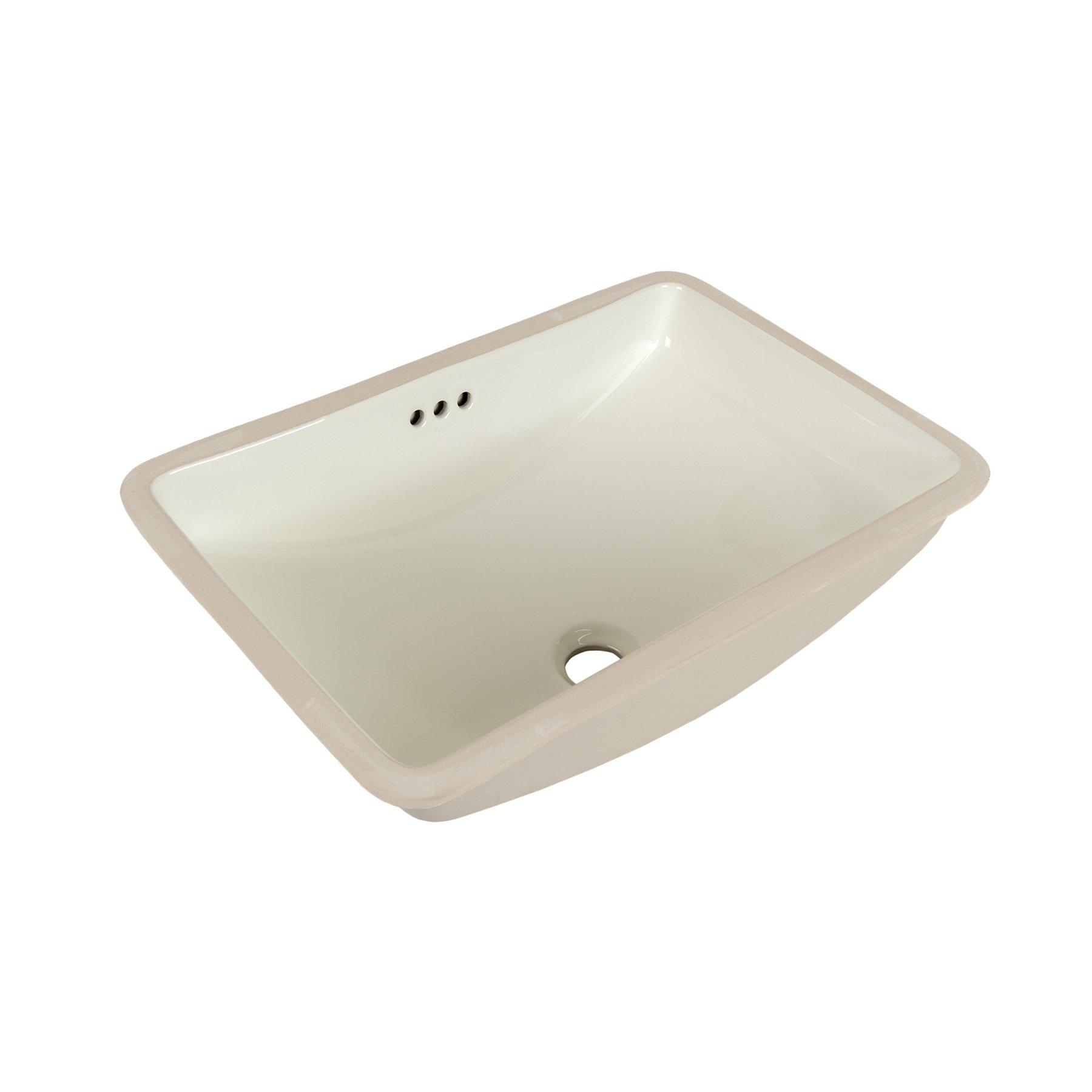 MAYKKE Bristol 20'' x 14'' Ceramic Undermount Bathroom Vanity Sink in Biscuit, YSA1092002 by Maykke