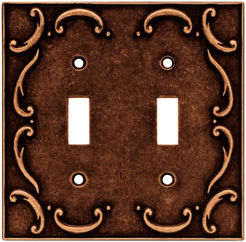 Brainerd 64262 Traditional French Lace Double Toggle Switch Wall Plate / Switch Plate / Cover, Sponged Copper